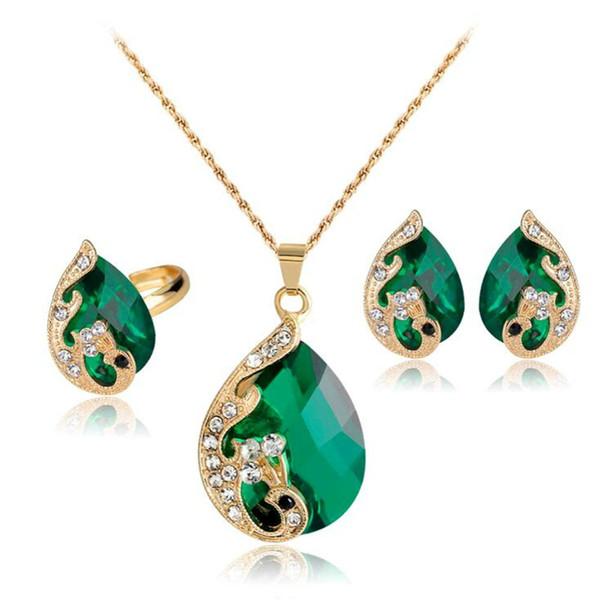 Banhado a ouro verde das mulheres pavão de cristal colar de anéis e brincos conjunto de jóias