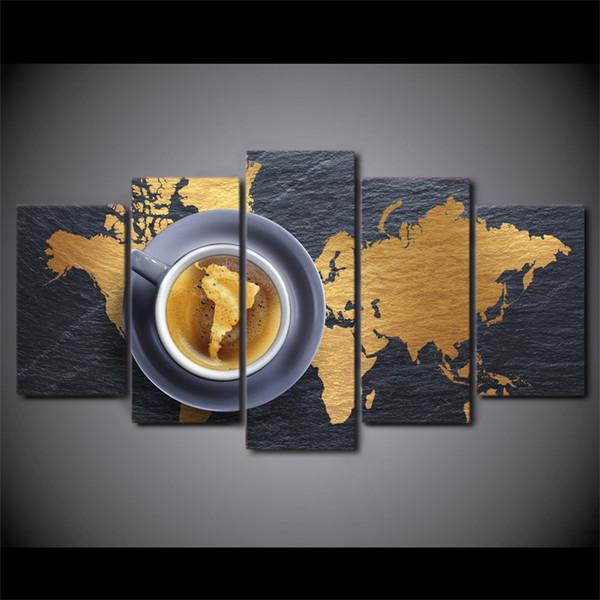 5 шт./Комплект обрамленный HD напечатали кофе карта мира современный дом стены декор плакат холст искусство живопись стены картинки