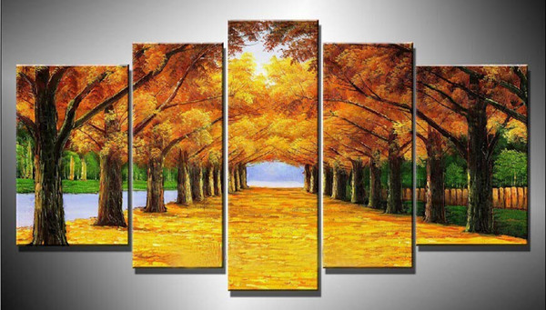 Cuadros Wall Art Autumn Tree Oil Painting On Canvas Paintings By Numbers Pictures Home Decor Living Room Unframed 5 Pieces/set