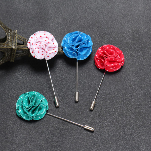 Fashion Men brooch Flower Lapel pin suit Boutonniere spot Fabric yarn pin 12 colors button fabric flower brooches Solid Accessories Jewelry