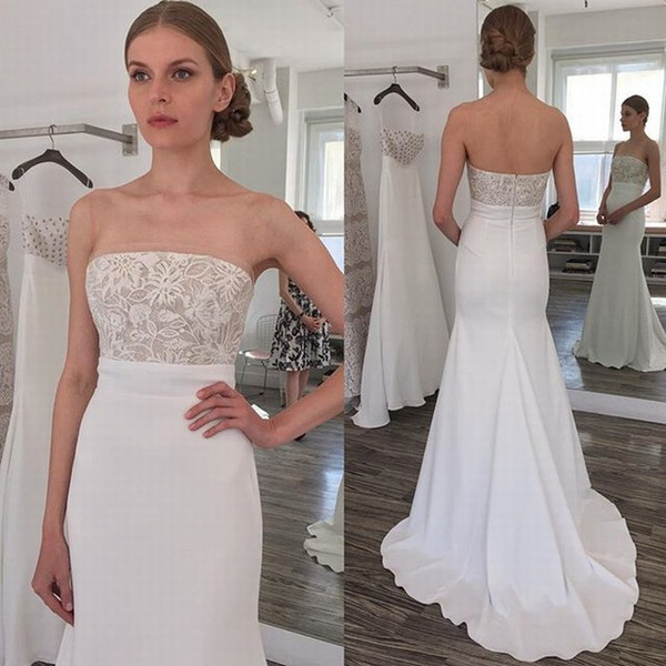 Simple 2017 Beach Mermaid Wedding Dresses Cheap Strapless Lace Top Chiffon Long Bridal Gowns Custom Made China EN11095