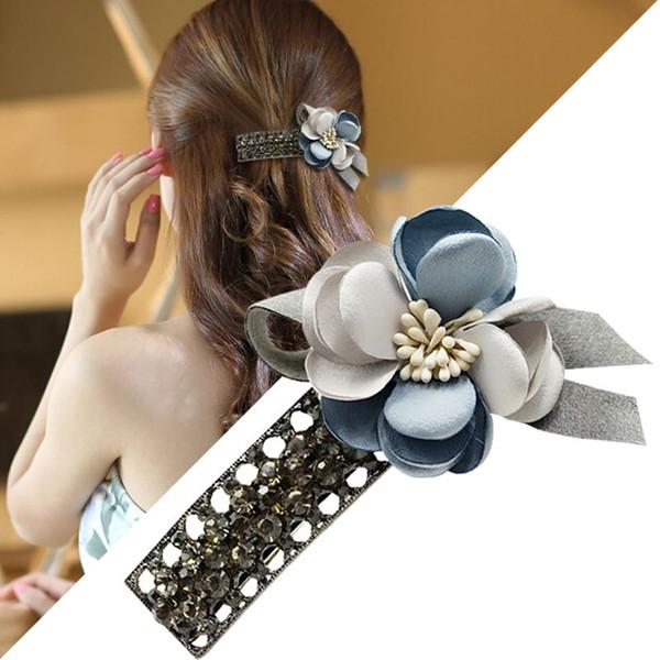Woman headdress hair Colorful plaid (jewelry) flower hairpin ornaments Korea top clamp Korean female hair headdress hairpin A0430