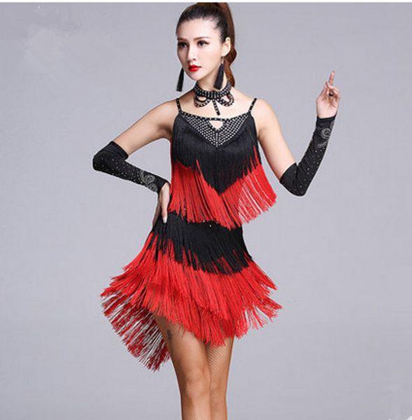 3Color 2017 New Latin dance dress women sexy suspenders diamond tassel Rumba Tango Sasa Samba ballroom costumes competition clothing