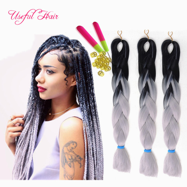 Premium marley twist 24inch Jumbo BRAIDS SYNTHETIC braiding hair two tone ombre color crochet hair extensions box crochet braids hair