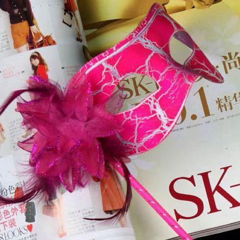 máscaras de fiesta 100pc lado de flor revestido Máscara de fiesta de mascarada veneciana en palo lado de flor a mano H57B