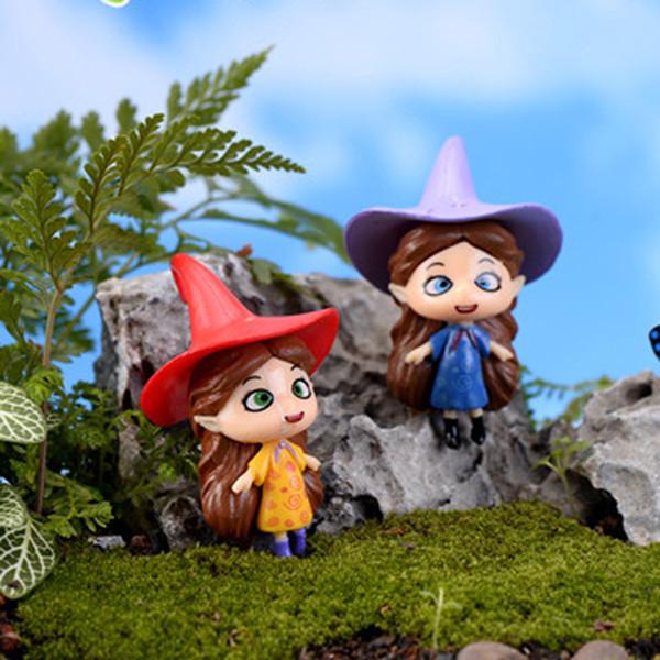 5pcs Cartoon Witch Terrarium Figurines Mini Fairy Garden Miniatures Resin Craft Bonsai Tools Gnomes Micro Landscape Moss Dollhouse Ornament