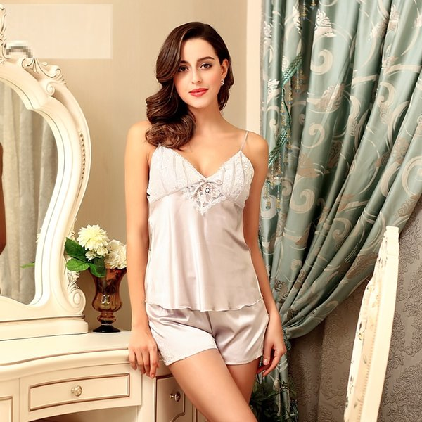 Plus size Lingerie Sexy Silk Satin Sleepwear Pajamas Women Lace Pajamas 2 Piece Cami Pajama Sets V-neck Nightwear with free gift bag SJYT17