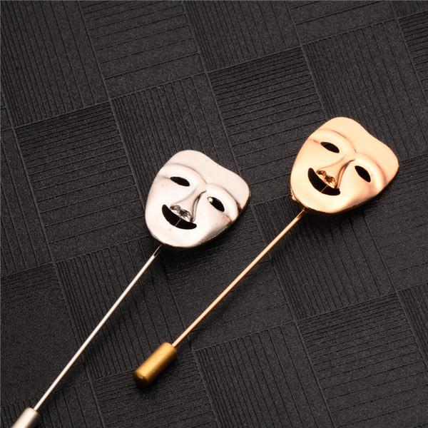Atacado- 2017 Moda Vintage Mens Roupas Jóias 3D Happy Mask Broches Banhado A Ouro Ternos Masculinos Acessórios Lapel Pin Broches