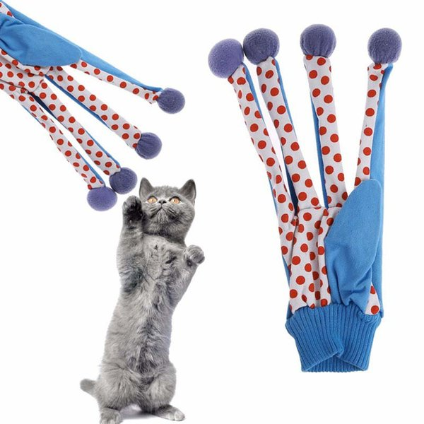 Pet Toy Cat Lovely Toy Ball Funny Puppy Cute Polka Dot Scratch Glove Toy Multi Colors Play With Kitten