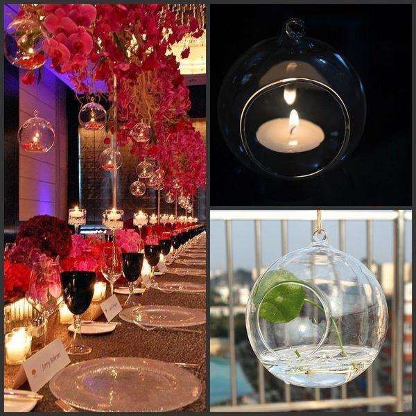 best selling 100PCS box Tea Light Holder Glass Air Plant Terrariums,Hanging Glass Orb Candle Holder For Wedding Candlestick Garden Decor Home Decor