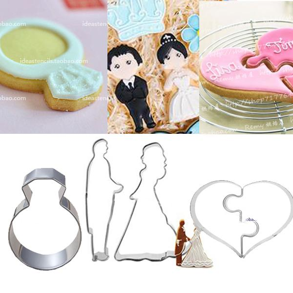 4pcs bride groom Ring candy cake decorating fondant Heart Bread mold moldes metal mold bride wedding cookie cutter for valentines