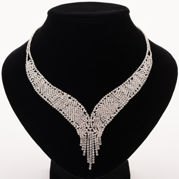 Trendy Crystal Statement Necklaces Pendants Women Fine Jewelry Multi layer Link Chain rhinestone Necklace Bijoux Colares