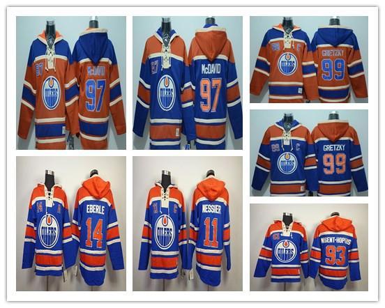 Edmonton Oiler Old Time Hoody Eishockey Trikots # 97 Connor McDavid # 99 Gretzky # 14 Eberle # 11 MESSIER Orange Blau Hoodies Sweatshirts