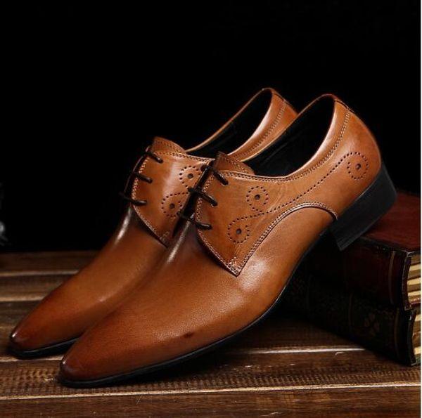 Großhandel Mens Brown Klassische Leder Business Businss Anzug Schuhe Mode Männer Lederschuhe Herren Hochzeit Prom Kleid Schuhe Von Fashionmenshoes,
