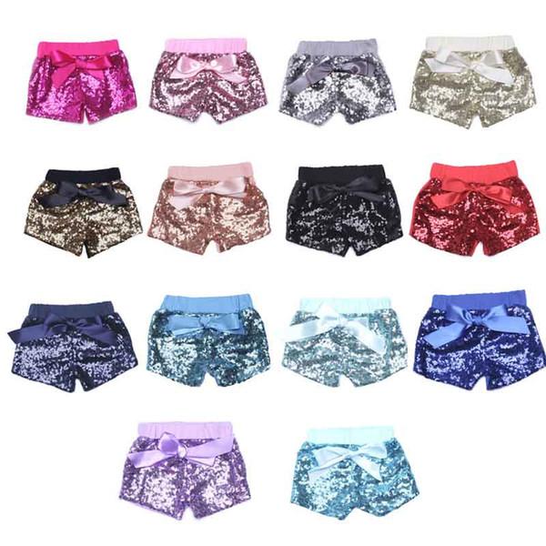 Pantalones cortos de lentejuelas para bebés pequeños para las niñas de verano bowknot pantalones cortos para niños boutique pantalones cortos para niños dulces pantalones