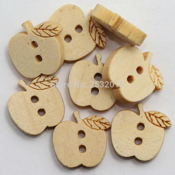 Wholesale Acces 100 pcs Kids Wood Button Diy Sewing Scrapbooking Crafts Cartoon Apple Wooden Button 2 Holes 14x13mm Natural Color
