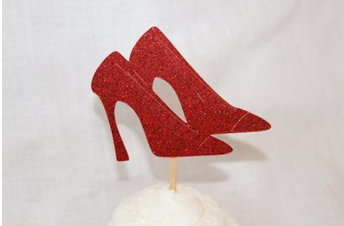 cheap custom 30pcs Glitter Red high heels cupcake Toppers baby bridal shower girls birthday wedding Party Decoration supplies Event