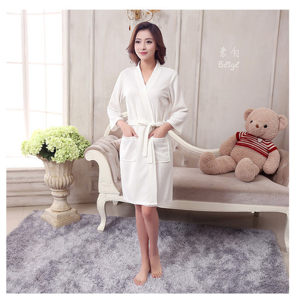 38cfdf4fd7 2018 Wholesale Towel Bath Robe Dressing Gown Unisex Men Women Solid Cotton  Waffle Sleep Bathrobe Peignoir Nightgowns Lovers Robes From Primali