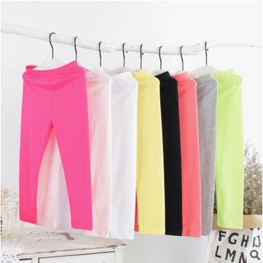 Children's Clothes Girls Legging Autumn Style Pinky Color Cotton Leggings Pure Single Color Long Pants Tights Classical Modeling