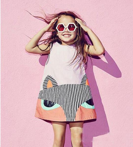 Ins Girls Dresses Fox Cartoon sin mangas del bebé niños Monos de una pieza prendas de vestir niñas Slip Dress Summer Falda