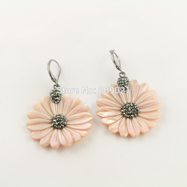 New ~ 4Pair Pave Rhinestone Crystal Flower Shape Shell Dangle Earrings Charms Jewelry Finding