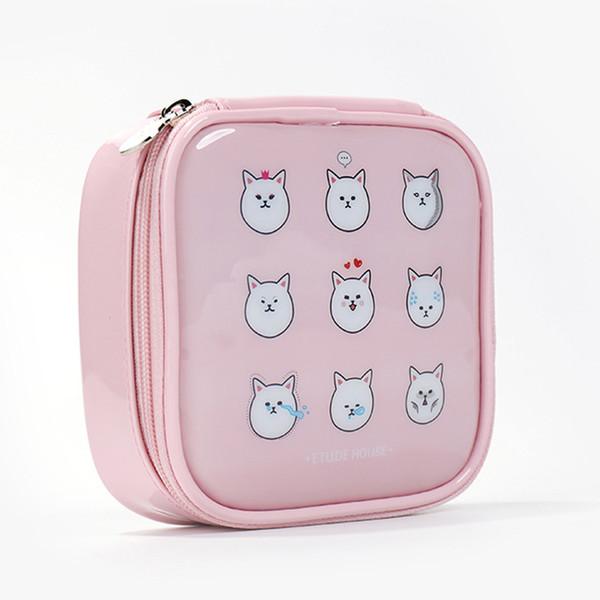 Wholesale- Women pu leather Large Capacity Cartoon cosmetic bags makeup bags waterproof cute fashion zipper beauty bags travel make up bag