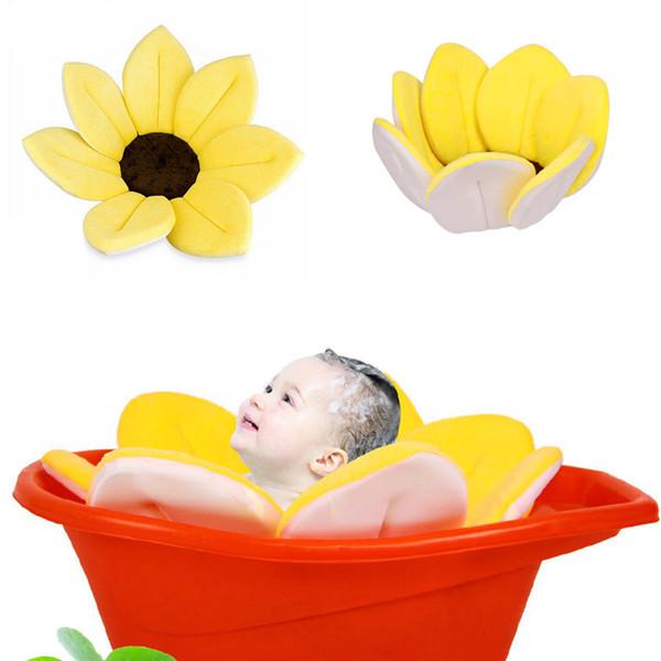 Çiçeklenme Banyo, Bebek Çiçek Küvet, Lavabo Banyoları İçin Yıkama Çiçek Yastığı Desteği (Sarı)