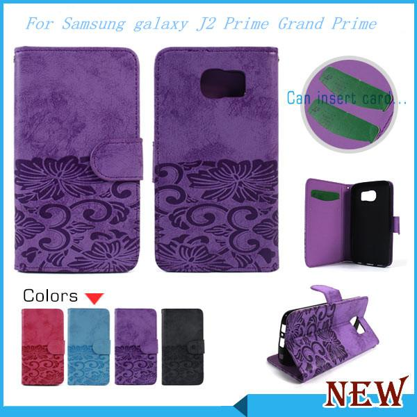 Luxury wallet For Samsung galaxy J2 Prime Grand Prime flip PU Leather phone case cover inside with credit card Slots