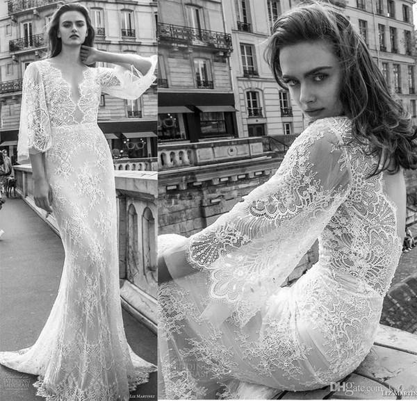 Open Back Half Sleeves Boho Wedding Dresses 2019 Liz Martinez Full Embellishment Bridal Gowns Elegant V Neck Sweep Train vestido de novia