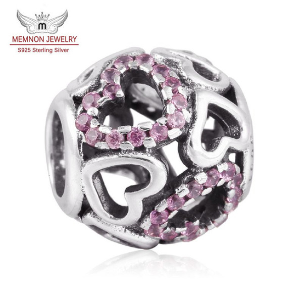 Memnon Jewelry Valentine's Day Pink Zirconia Pave beads 925 Sterling Silver Falling In Love Openwork Heart Charms For Bracelets DIY BE212