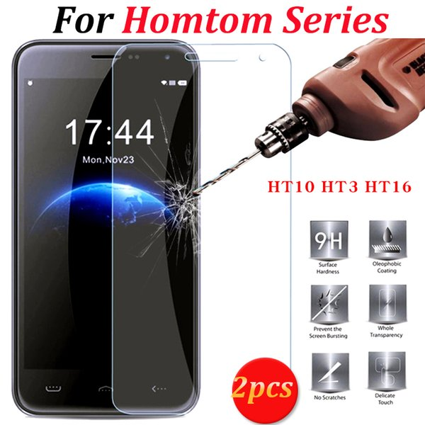 Wholesale- 2pcs HOMTOM HT10 HT3 HT16 Tempered Glass 100% original New Screen Protector Film For HOMTOM HT 10 HT 3 HT 16 Pro Cell Phone