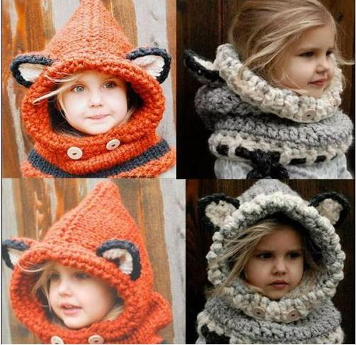 DHL Fashion Winter Warm Neck Wrap Fox Scarf Caps Cute Children Wool Knitted Hats Baby Girls Shawls Hooded Cowl Beanie Caps Free Shipping
