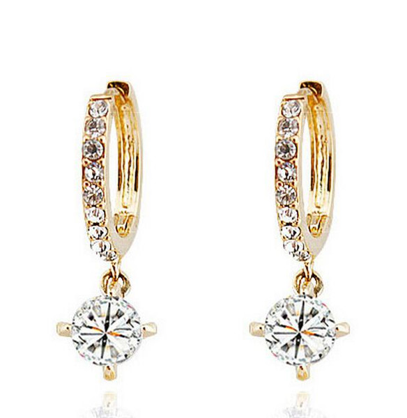 best selling Gold Silver Plated Crystal Clip on Earrings for Women Made With Swarovski Elements Bridal Jewelry Circle Hoop Dangle Earrings Nice Gift