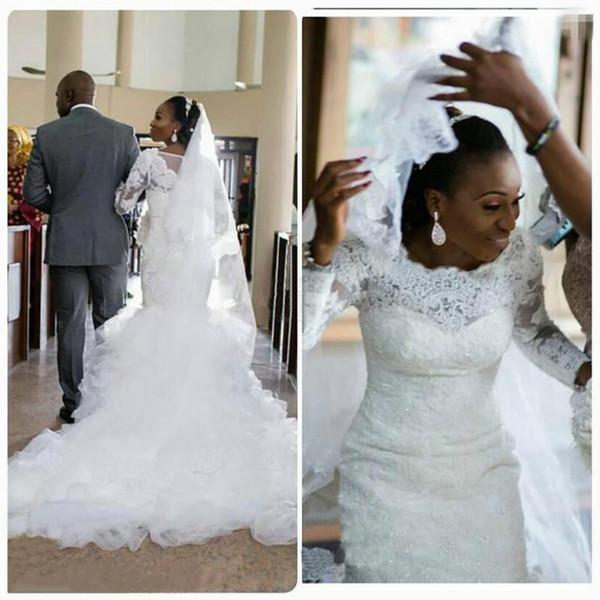 White Mermaid Wedding Dresses 2017 Scoop Neck Long Sleeves With ...