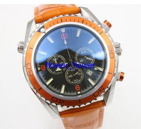 2017 Top watch men quartz stopwatch Co-Axial planet ocean chronograph function watch orange leather belts watches men dress wristwatches swa