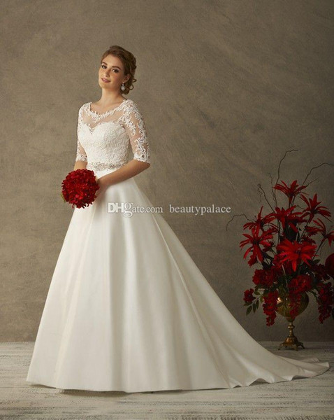 Discount A Line Illusion Neck Plus Size Wedding Dresses With Half Sleeves  Keyhole Back Bridal Gown Winter Wedding Dresses Informal Wedding Dress Low  ...