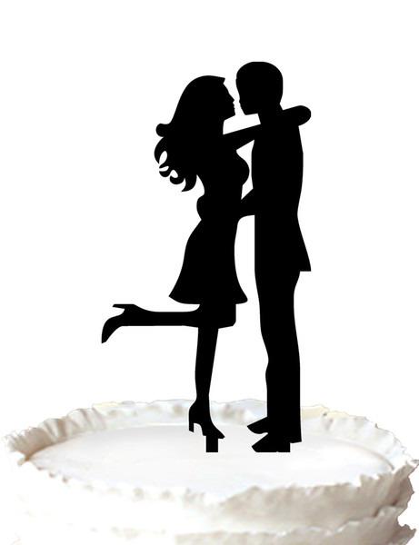 Wedding Cake Topper with Couple Silhouette Groom and Bride Silhouette Topper,37 color for option Free Shipping