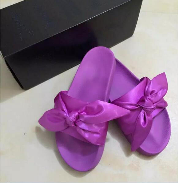 Zapatillas Leadcat Fenty Rihanna Shoes para mujer con caja original Bolsa para el polvo 2017 Moda para mujer verano bowtie Sandalias deslizantes chanclas