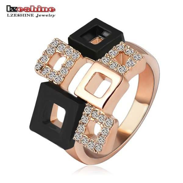 LZESHINE 2016 Geometric Crystal Rings Rose Gold/Silver Plated Austrian Crystal Square Ring Full Sizes Wholesale Ri-HQ1114