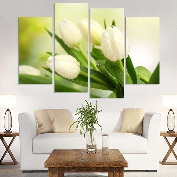 4 Pcs Hot Sell Modern Wall Painting Charming White Tulip Flowers Modern Oil Painting on Canvas Pictures For Living Room(No Frame)