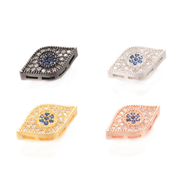 4 Color ECO-Friendly Micro Pave Connector Evil Eye Micro Pave Charm, Sparkly Connector, ICSP005, Size 16.9*3.7 mm