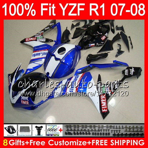 8Gifts 23Colors Injection Para YAMAHA YZF1000 YZFR1 07 08 YZF 1000 37HM9 YZF-R1 07-08 YZF-1000 YZF R 1 Azul FIMER YZF R1 2007 2008 Carenado