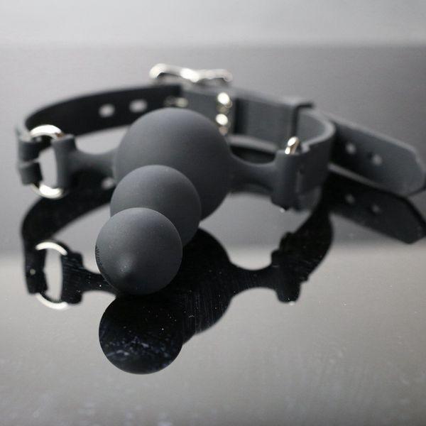 Lockable Soft Head Bondage Gear Silicone Anal Plug Harness with Ball Gag Face Strapon Lestbian Gay Kinky Sex Toy