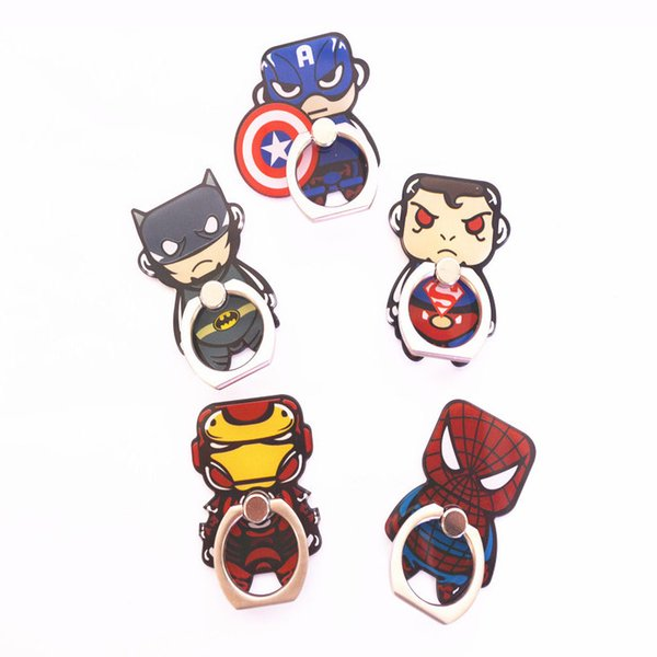 Universal 360 Degree Cute Super Hero Superman Spiderman Finger Ring Holder Phone Stand Mount For iPhone 8 Samsung Huawei