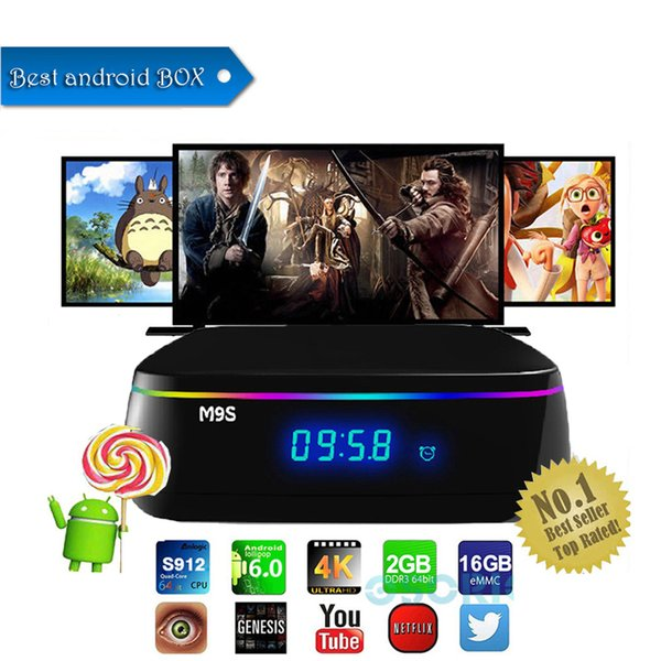 Android 6.0 tv box 2 gb ram 16 gb rom Amlogic S912 Octa Core Smart M9S MIX TV Box e supporto Dual band wifi BT4.0 1000 M Lan
