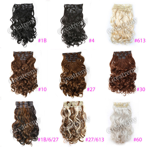 "Greatremy 20"" Body Wave Full Head Clip In Hair Extensions Hairpiece Synthetic Colors #1b#4#6#10#16#27#30#33#99J#60#613,#27/613"