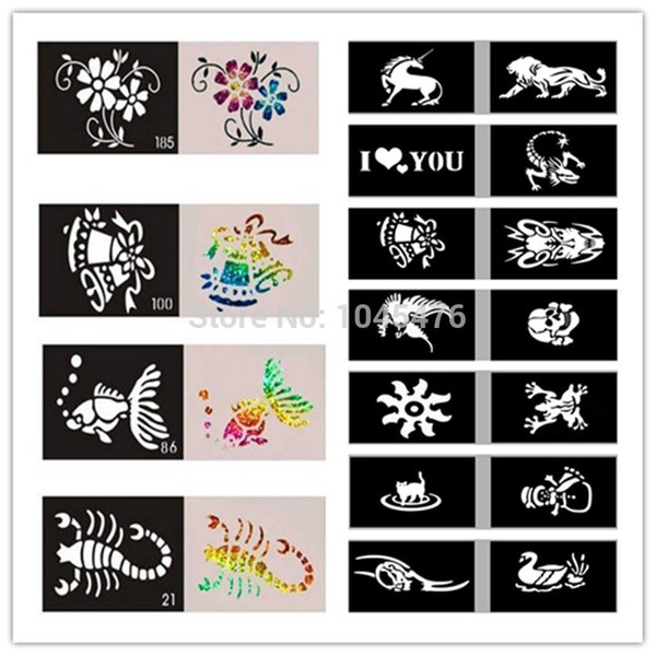 Toptan Satış - Toptan-50pcs / Flash Vücut Boya-Airbrush Dövme Şablonu Karışık Tasarımlar Ücretsiz Nakliye İçin Geçici Glitter Dövme Stencil