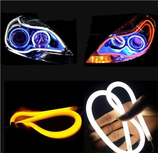 2x 60cm White & Amber LED Headlight Strip Daytime Running Light With Turn Signal Car Angel Eye DRL HeadLamp Switchback Tube Style Decorative