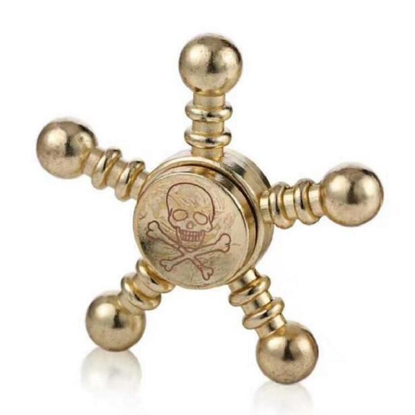 New Skull Brass Metal Fidget Hand Spiner Tri-spinner Adult Reduce Stress Figit Spinner beyblade Spinning Top Metal Handspinner