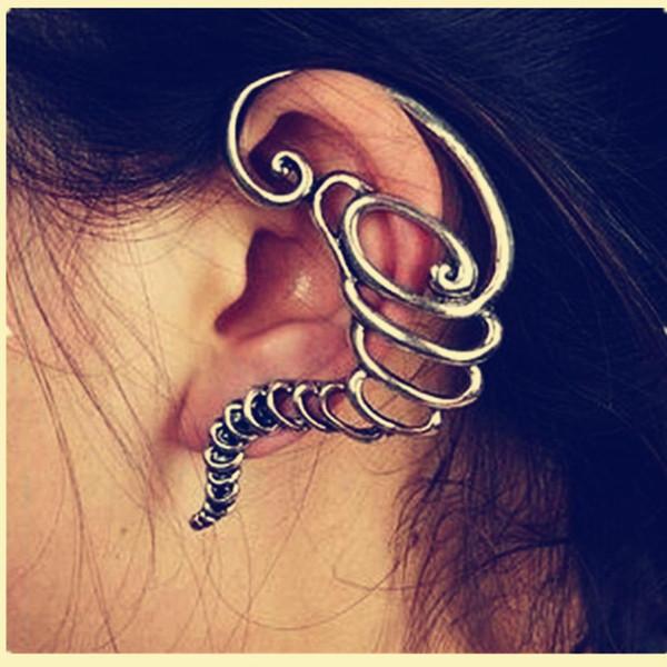 Ear Cuff Earrings Girls Earing Pendientes Mujer Bijoux Vintage Tornado Clip Ear Cuff Earrings For Women Bronze Silver Plated Jewelry Earings
